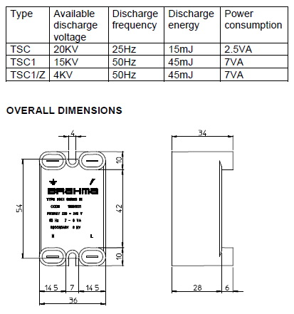 Transformador Brahma- TSC1 info diagrama