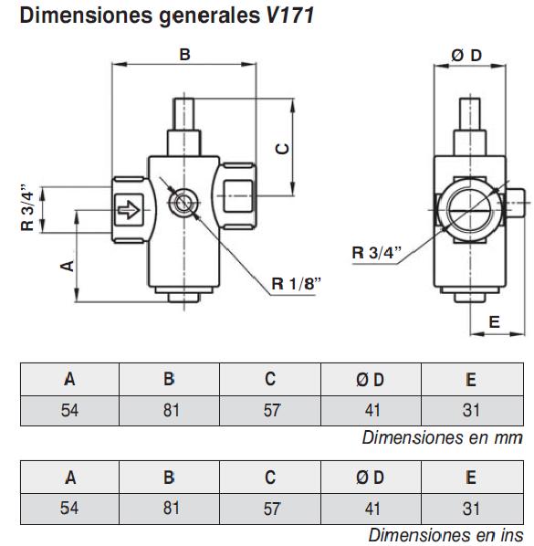Valvula de seguridad Jefferson- V171 Dimensiones Generales