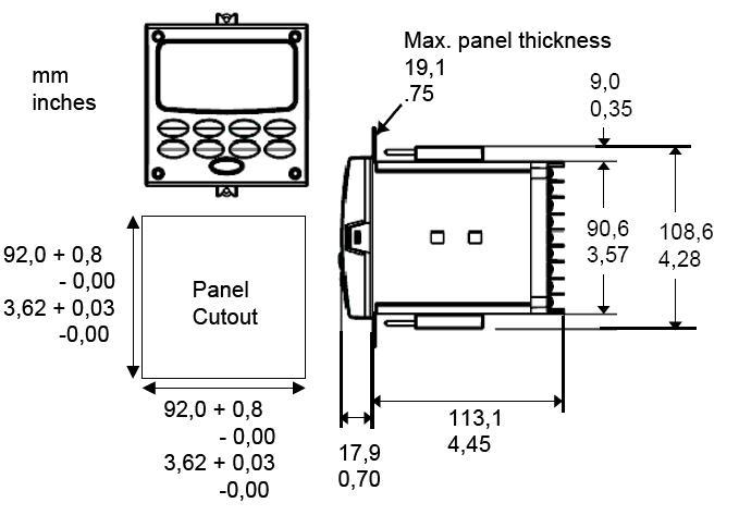 control de temperatura honeywell- udc2500 dimensiones